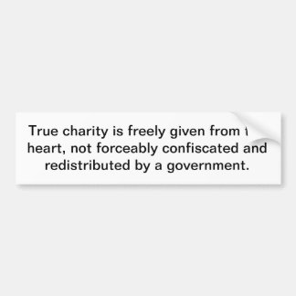 True charity has nothing to do with the government bumper sticker