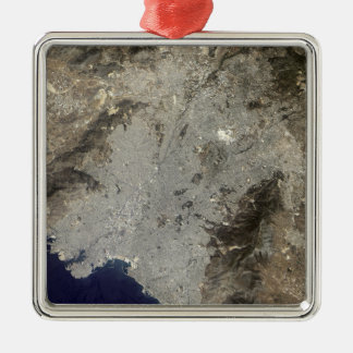 True-color satellite view of central Athens Silver-Colored Square Ornament