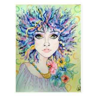 True Colors Rainbow Woman Fantasy Art Postcard