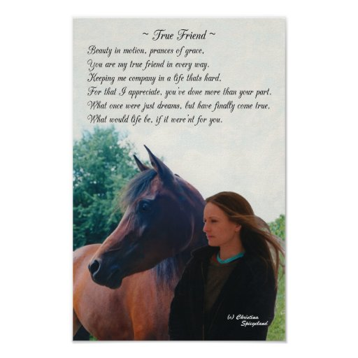 True Friend Arabian Horse Poem Poster Zazzle Ca