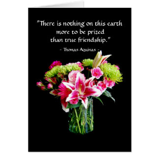 True Friend Happy Birthday, Stargazer Lily Bouquet Card