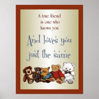 True Friendship: Teddy Bears, Stuffed Toys: Art Poster