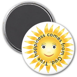 True Happiness Comes From God 3 Inch Round Magnet