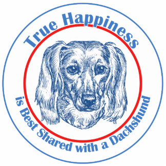 True Happiness with a Dachshund (Longhair) Photo Sculpture Ornament