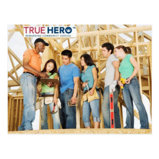True Hero postcard with service project team photo