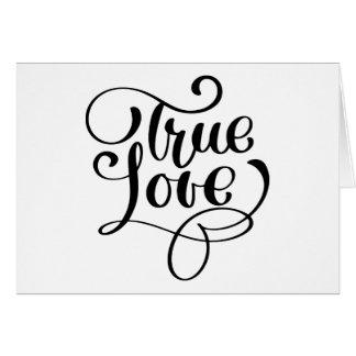 True Love Black & White Typography Wedding Bridal Card