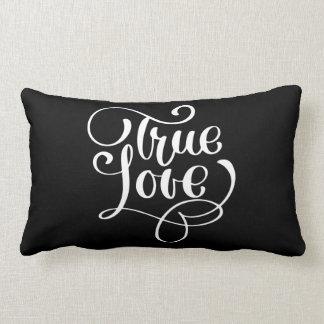 True Love Black & White Typography Wedding Bridal Lumbar Pillow