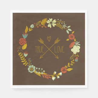 True Love Floral Wreath On Brown Paper Napkins