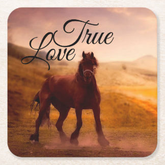 True Love Horse Square Paper Coaster