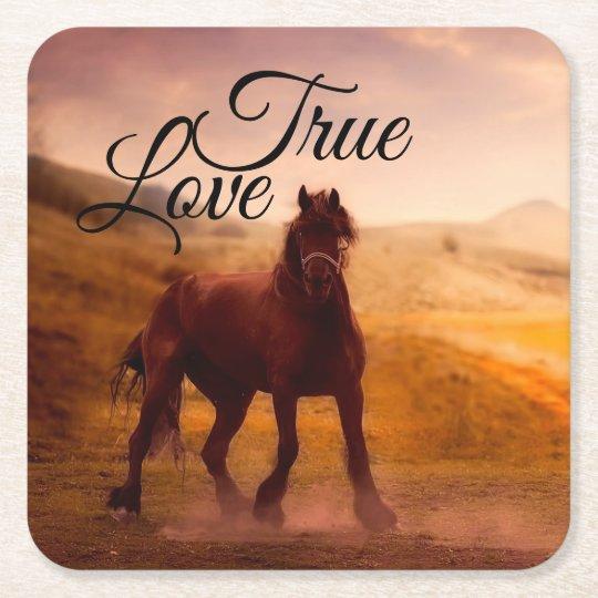 True Love Horse Square Paper Coaster
