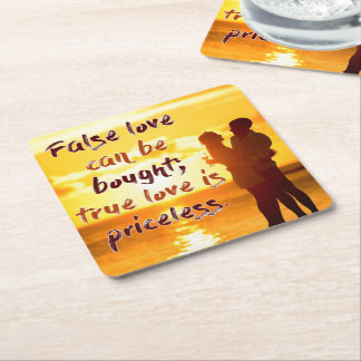 True Love Is Priceless Square Paper Coaster