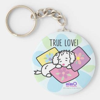 True Love Little Fluffy White Dog Keychain