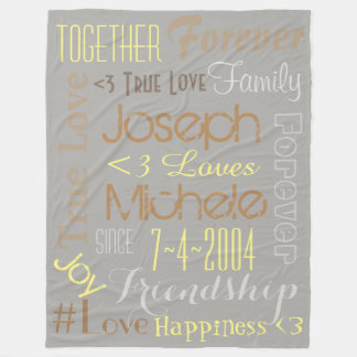 True Love Names and Date Blanket Personalized