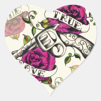 True Love Old school pistol tattoo art. Heart Sticker