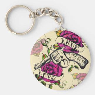 True Love Old school pistol tattoo art Keychains