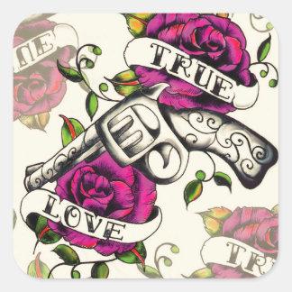 True Love Old school pistol tattoo art. Square Sticker