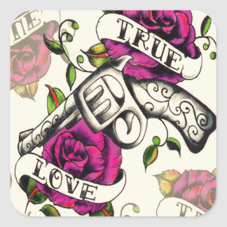True Love Pistol and Roses artwork, pink & yellow Square Sticker