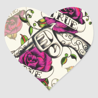 True Love Pistol and Roses artwork pink yellow Sticker