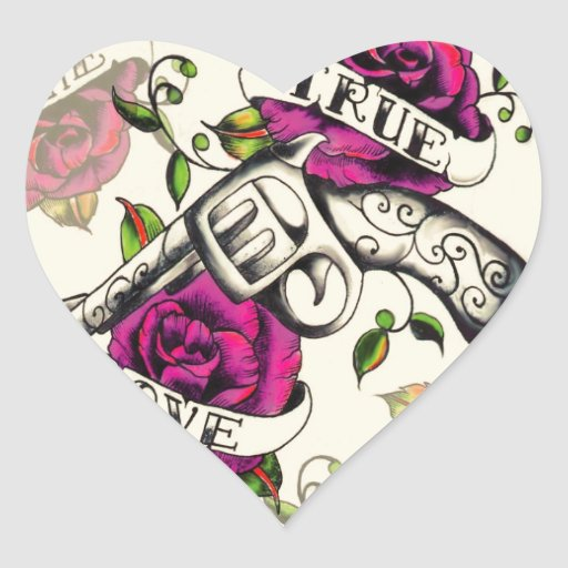 True Love Pistol and Roses artwork, pink & yellow Sticker