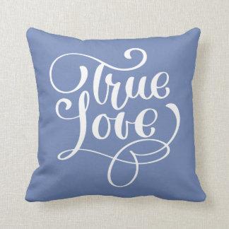 True Love Quote Cornflower Blue Typography Wedding Throw Pillow
