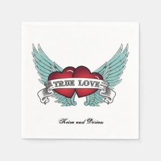 True Love Rockabilly Winged Heart Disposable Napkin