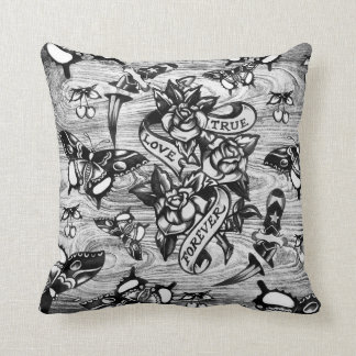 True Love Surfabilly tattoo pillow in grey.
