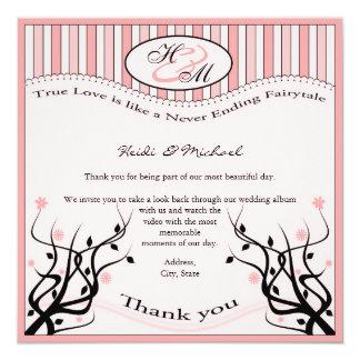"""True love Thank you 5.25"""" Square Invitation Card"""