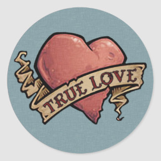 True Love Vintage Tattoo Classic Round Sticker
