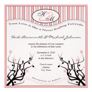 """True love Wedding 5.25"""" Square Invitation Card"""
