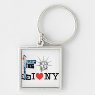 True New Yorker Silver-Colored Square Keychain