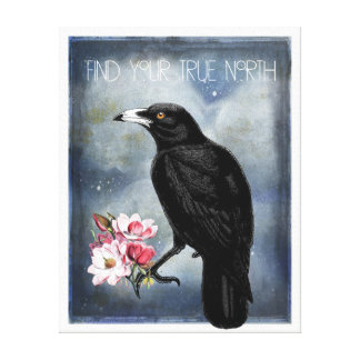 True North Crow And Magnolias Canvas Print