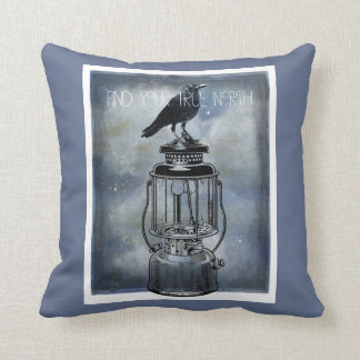 True North Crow On Lantern Throw Pillow