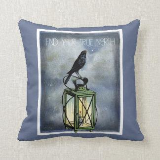 True North Crow On Vintage Lantern Throw Pillow