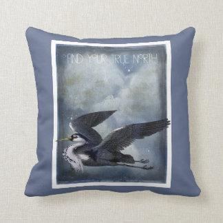 True North Grey Heron Throw Pillow