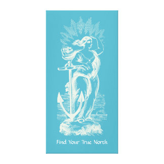 True North Woman And Anchor Canvas Print