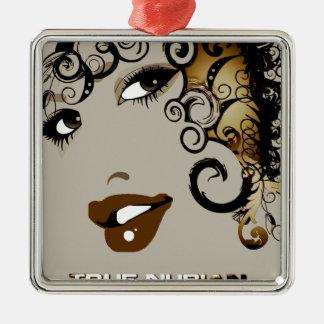 True Nubia Gear & Merchandise Silver-Colored Square Ornament
