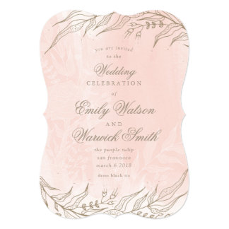True Romance Pink Foral Frame Wedding Invitation
