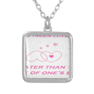truer love statement silver plated necklace