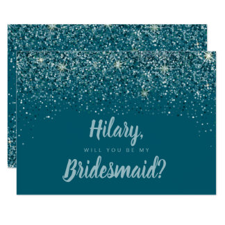 Truly Teal Glitter Bridesmaid Card