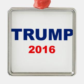 Trump 2016 Silver-Colored square ornament