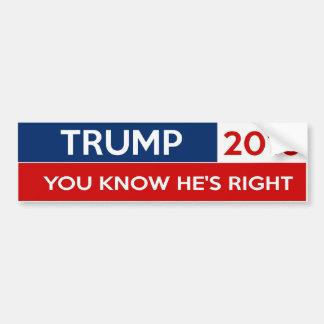 Trump 2016 - You Know He's Right Bumper Sticker