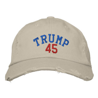 TRUMP 45 Distressed Chino Twill Cap - Stone Embroidered Baseball Caps