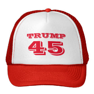 """Trump 45"" President Donald J. Trump in Red Trucker Hat"