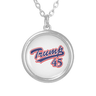 Trump 45! silver plated necklace