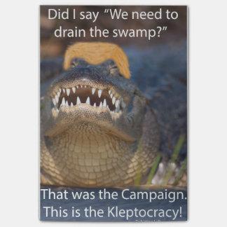 Trump Alligator Drain Drain the Swamp Kleptocracy Post-it Notes