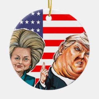 Trump and Hillary Caricature Ceramic Ornament