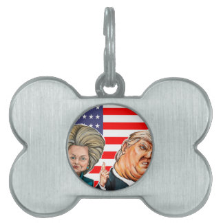 Trump and Hillary Caricature Pet Tag