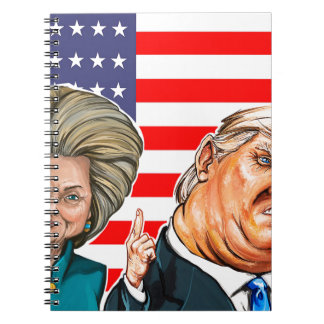 Trump and Hillary Caricature Spiral Note Books