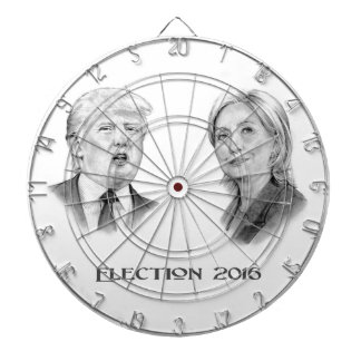 Trump and Hillary Pencil Portraits, Election 2016 Dartboard