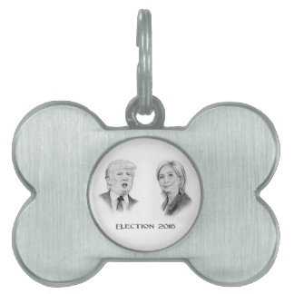 Trump and Hillary Pencil Portraits, Election 2016 Pet ID Tag